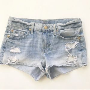7FAM Distressed Cut Off Jean Shorts 25 rips holes